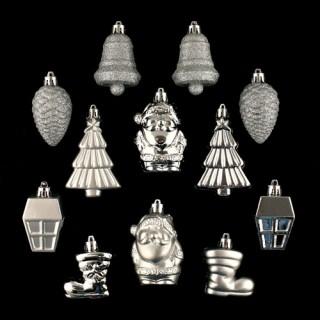Lot de 12 décorations de noël - Argent