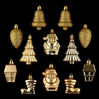 Lot de 12 décorations de noël - Or