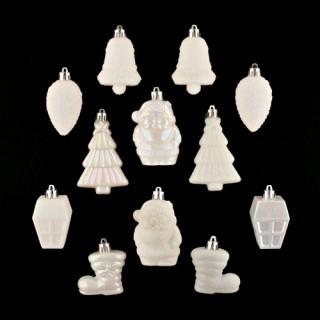 Lot de 12 décorations de noël - Blanc