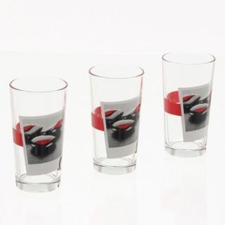 3 verres décorés Zen - Galets rouges - En verre