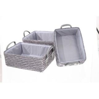 3 Paniers de salle de bain - Osier - Gris
