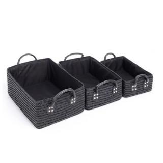 3 Paniers de salle de bain - Osier - Noir