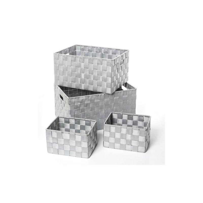 4 paniers de rangement gris decoandgo for Salle de bain design avec billes de verre décoratives