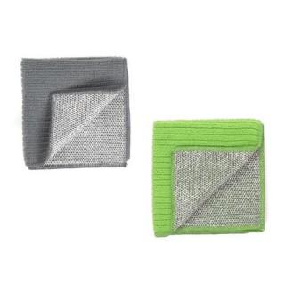 2 Chiffons microfibre double-face - Vert et gris