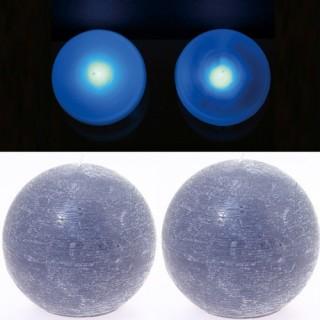 2 Lampes perles et bougies boule gris