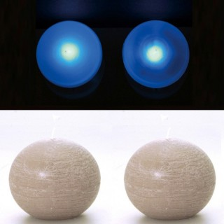 2 Lampes perles et bougies boule taupe