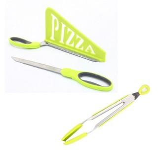 Ciseaux à Pizza et pince de cuisine - Vert