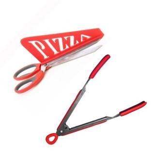 Ciseaux à Pizza et pince de cuisine - Rouge