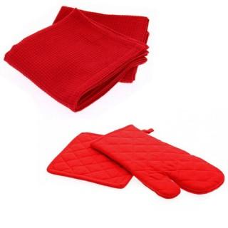 Gant et manique avec Panier 4 torchons - Rouge