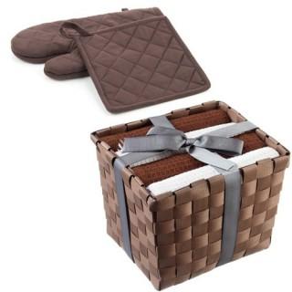 Gant et manique avec panier 4 torchons - Chocolat