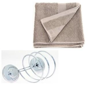 Support pour sèche-cheveux et 2 serviettes de toilette - Taupe