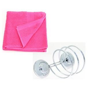 Support pour sèche-cheveux et 2 serviettes de toilette - Framboise