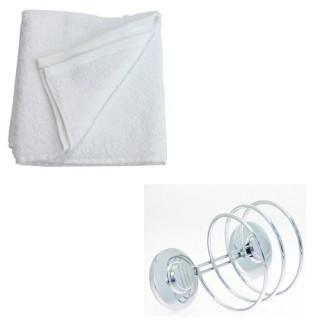 Support pour sèche-cheveux et 2 serviettes de toilette - Blanc