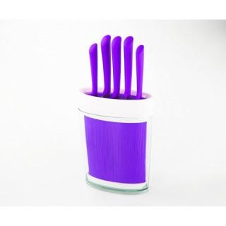 Bloc de 5 couteaux Spaghettis Ovale - Violet