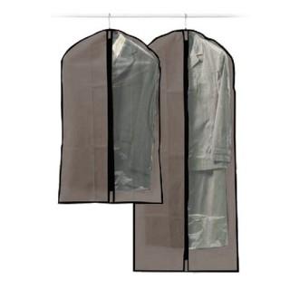 2 Housses pour costume - 135 x 60 et 100 x 60 cm - gris
