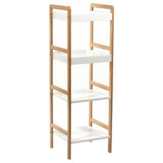 Etagère de Salle de bain 4 niveaux - Bambou - Blanc
