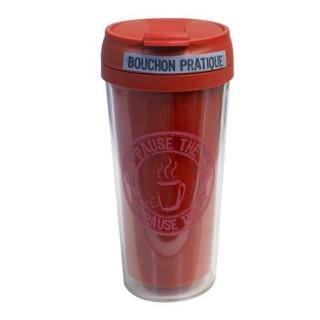 Mug isolant Pause Thé Café - 400 ml - Rouge