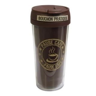 Mug isolant Pause Thé Café - 400 ml - Marron