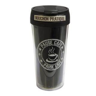 Mug isolant Pause Thé Café - 400 ml - Noir