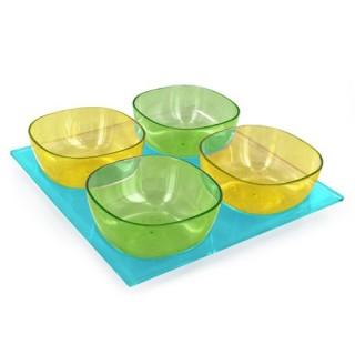 4 coupelles avec plateau - Turquoise