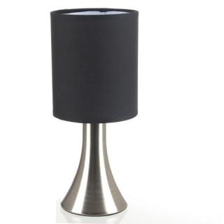 Lampe de chevet haute pied en galets et ampoule c ramique gris fonc de - Lampe de chevet noir et argent ...