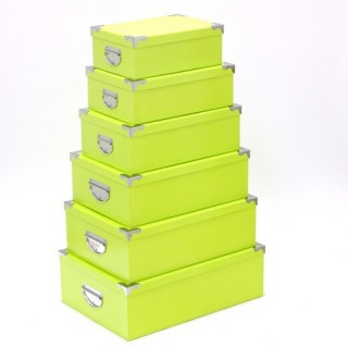 6 Boîtes de rangement empilables Uni - Vert