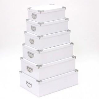 6 Boîtes de rangement empilables Uni - Blanc