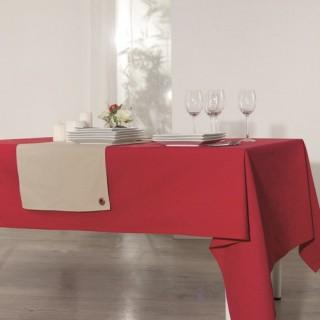 Nappe anti-taches Coton - 140 x 240 cm. - Rouge
