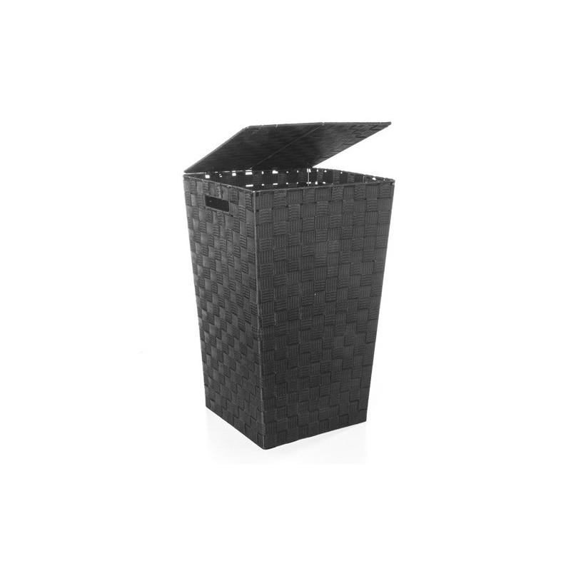 panier linge polyester tress noir decoandgo. Black Bedroom Furniture Sets. Home Design Ideas
