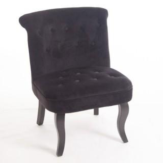 Fauteuil crapaud Calixte H. 73 cm - Velour - Noir