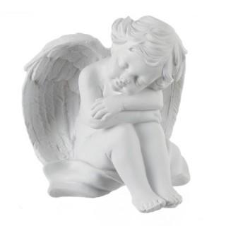 Statuette Ange assis - Endormi - Blanc