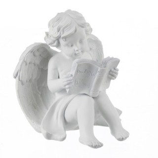 Statuette Ange assis - Lecture - Blanc