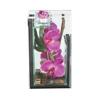 Composition de fleurs artificielles Orchidées - H. 25 cm - Violet