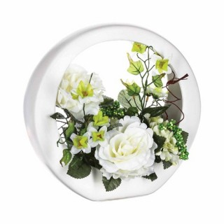 Composition de fleurs artificielles Rose - Céramique - Blanc