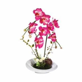 Composition de fleurs artificielles Orchidées - Vase en céramique - Rose