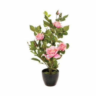 Rosier artificiel en pot - H. 50 cm - Rose