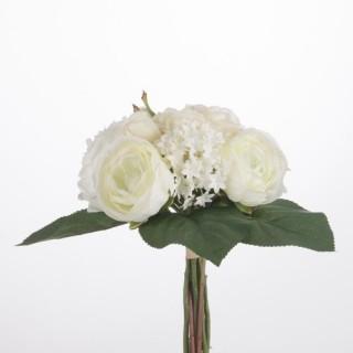 Bouquet de fleurs artificielles blanches - H. 30 cm
