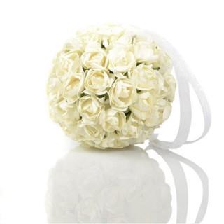 Boule de roses artificielles - Diam. 9 cm - Blanc