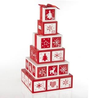 Décoration de Noël 24 Boîtes de l'Avent - Bois