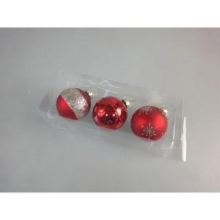 3 Boules de Noël Verre - Diam. 60 mm - Rouge