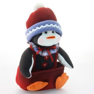 Peluche de Noël Pingouin assis - H. 34 cm - Blanc