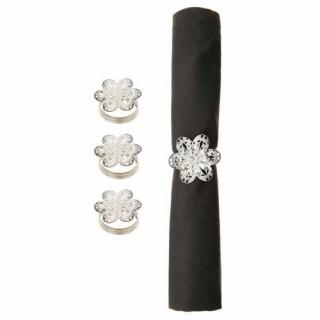 4 Ronds de serviette Fleur - Argent