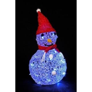 Décoration de Noël lumineuse - Bonhomme de neige - Bleu