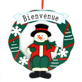 Couronne de Noël - Bois - Bonhomme de neige
