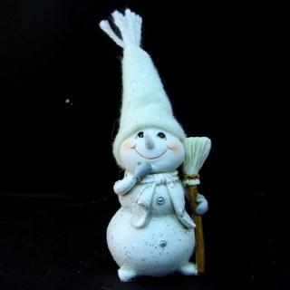 Statuette de Noël - Bonhomme de neige - Balai