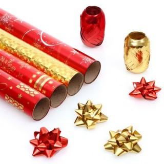 Kit Papier cadeau - 4 Rouleaux - Rouge
