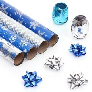 Kit Papier cadeau - 4 Rouleaux - Bleu