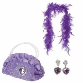 Accessoires Princesse - Sac, boa et boucles d'oreilles - Violet
