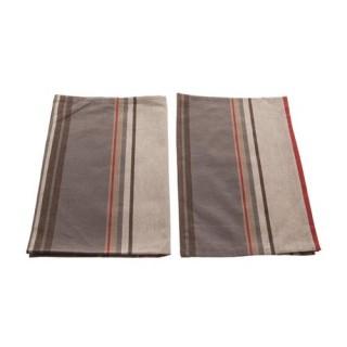 2 Torchons Rayures - Coton - Gris