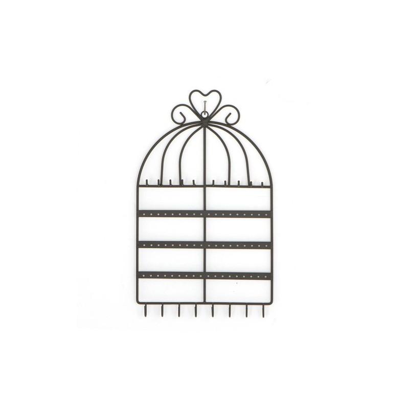 porte bijoux mural cage noir decoandgo. Black Bedroom Furniture Sets. Home Design Ideas